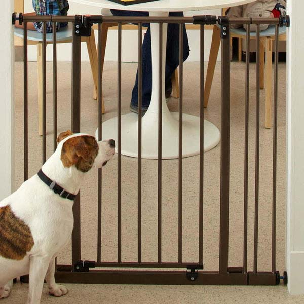 "North States Extra Tall Deluxe Easy-Close Pressure Mounted Pet Gate Brown 28"" - 38.5"" x 36""-Dog-North States-PetPhenom"