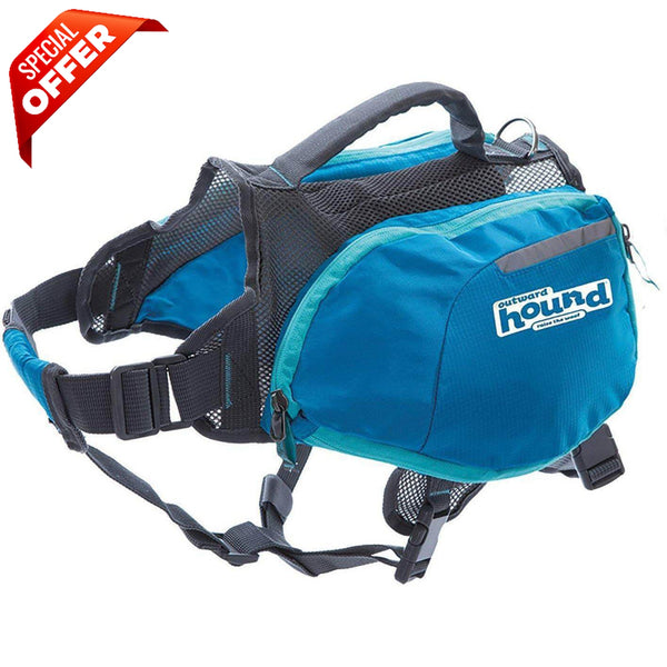 Outward Hound Daypak Dog Backpack Hiking Gear For Dogs, Large, Blue-Dog-Outward Hound-PetPhenom