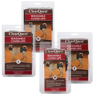 Clr Quest™ Clr Quest™ Washable Cover-Ups - 2 per pack, Black & Pink -Large-Dog-Clr Quest-PetPhenom