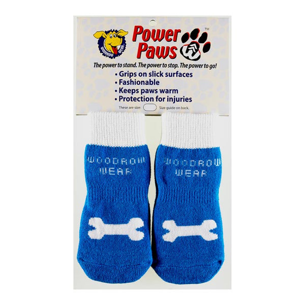 "Woodrow Wear Power Paws Advanced Large Blue / White Bone 2.38"" - 2.75"" x 2.38"" - 2.75""-Dog-Woodrow Wear-PetPhenom"