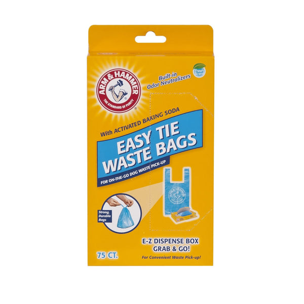 "Petmate Arm and Hammer Easy-Tie Waste Bags 75 count Blue 1.5"" x 4.5"" x 8.5""-Dog-Petmate-PetPhenom"