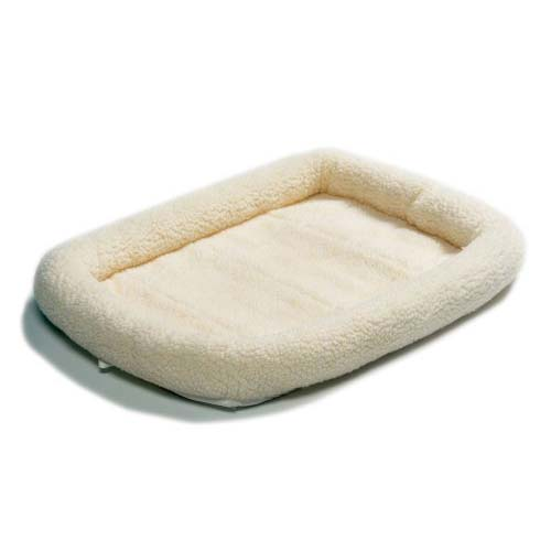 "Midwest Quiet Time Fleece Dog Crate Bed White 18"" x 12""-Dog-Midwest-PetPhenom"