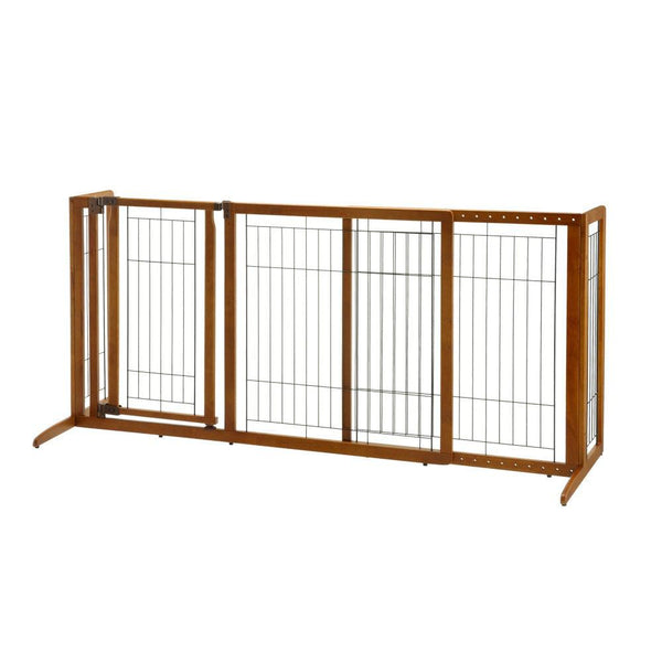 "Richell Deluxe Freestanding Pet Gate with Door Medium Brown 61.8 - 90.2"" x 24"" x 28.1""-Dog-Richell-PetPhenom"