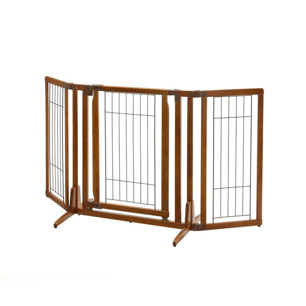 "Richell Premium Plus Freestanding Pet Gate with Door Brown 34"" - 63"" x 20.5"" - 26"" x 32""-Dog-Richell-PetPhenom"