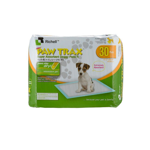 "Richell Paw Trax Pet Training Pads 30 Count White 17.7"" x 23.6"" x 0.2""-Dog-Richell-PetPhenom"