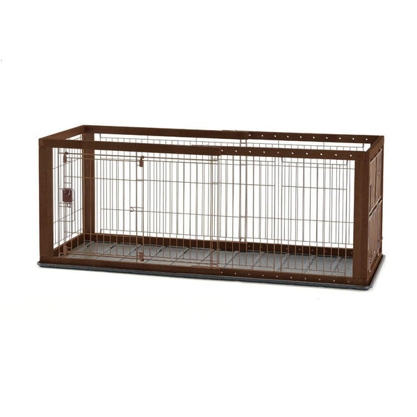 "Richell Expandable Pet Crate with Floor Tray Small Brown 35.4"" - 60.6"" x 23.6"" x 24""-Dog-Richell-PetPhenom"