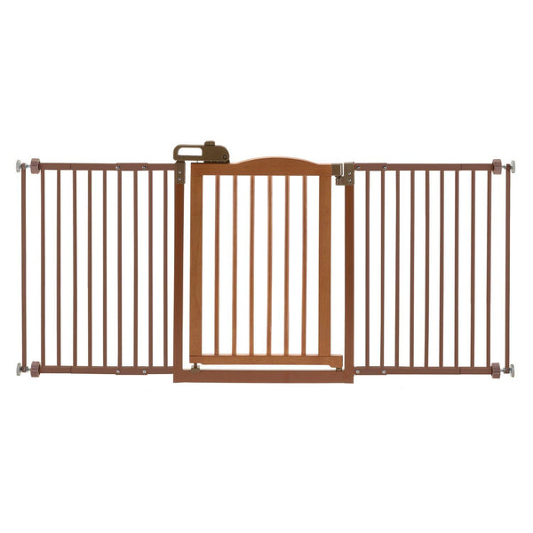 "Richell One-Touch Wide Pressure Mounted Pet Gate II Brown 32.1"" - 62.8"" x 2"" x 30.5""-Dog-Richell-PetPhenom"