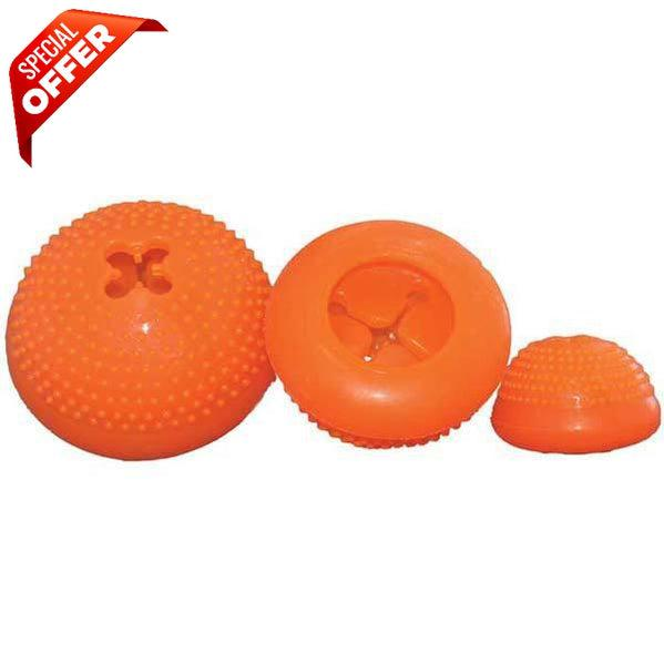 "Starmark Everlasting Bento Ball Small Orange 2.5"" x 1.5"" x 2.5""-Dog-Starmark-PetPhenom"