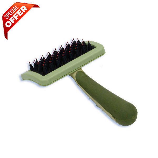 "Safari Nylon Coated Tip Dog Brush for Shorthaired Breeds Green 6.75"" x 4"" x 1""-Dog-Safari-PetPhenom"