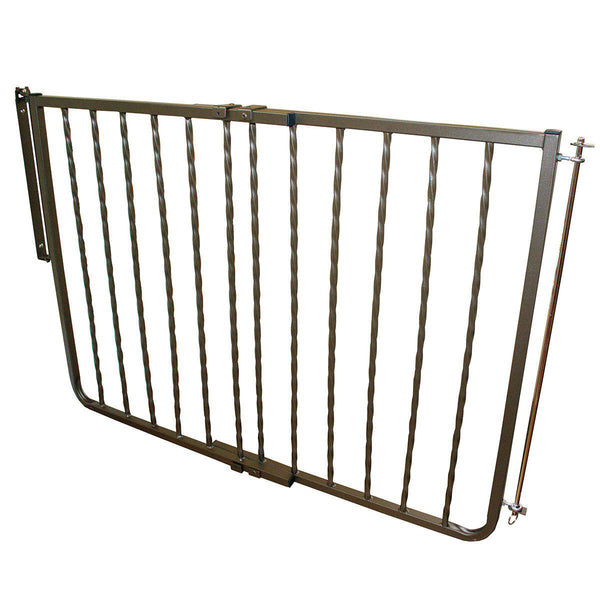 "Cardinal Gates Wrought Iron Decor Hardware Mounted Pet Gate Bronze 27"" - 42.5"" x 1.5"" x 29.5""-Dog-Cardinal Gates-PetPhenom"