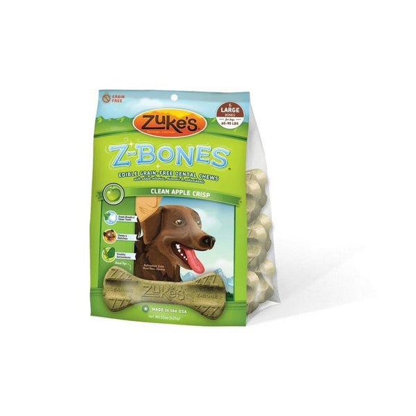 Zuke's Z-Bones Grain Free Edible Dental Chews Clean Apple Crisp 6 count Large-Dog-Zuke's-PetPhenom