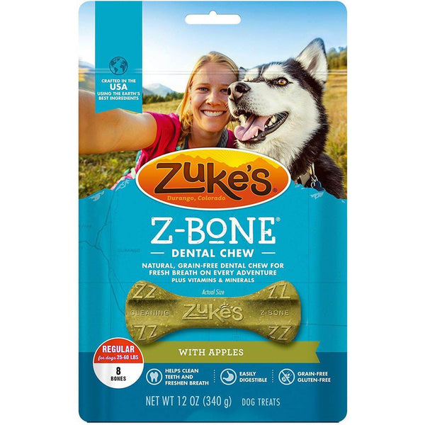 Zuke's Z-Bones Grain Free Edible Dental Chews Clean Apple Crisp 8 count Medium-Dog-Zuke's-PetPhenom
