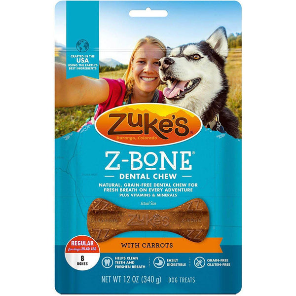 Zuke's Z-Bones Grain Free Edible Dental Chews Clean Carrot Crisp 8 count Medium-Dog-Zuke's-PetPhenom