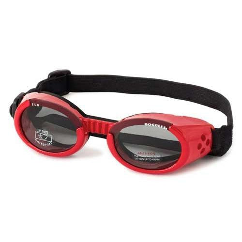 Doggles® Shiny Red ILS Doggles with Light Smoke Lens -Large-Dog-Doggles®-PetPhenom