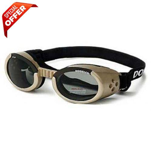 Doggles® Chrome ILS Doggles with Light Smoke Lens -Large-Dog-Doggles®-PetPhenom