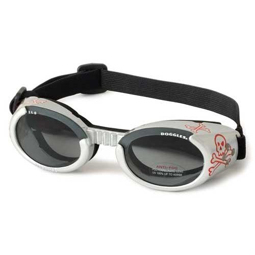 Doggles® Silver Skull ILS Doggles with Light Smoke Lens -X-Small-Dog-Doggles®-PetPhenom