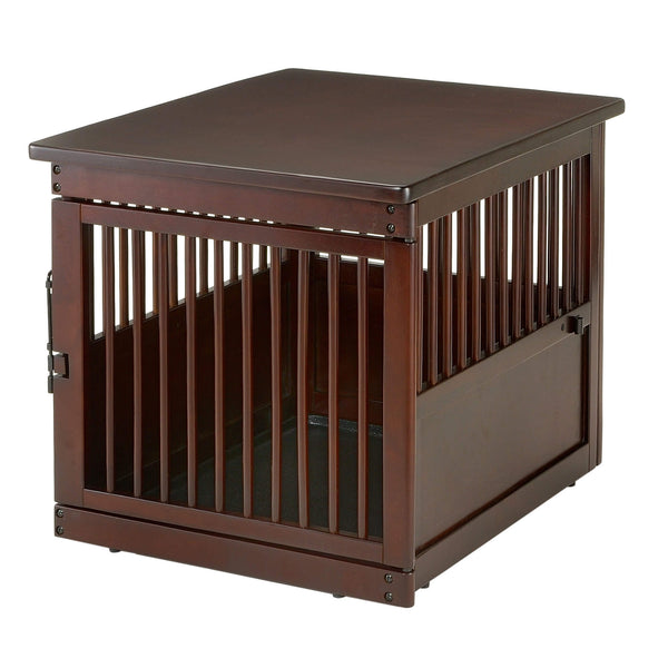 "Richell Wooden End Table Dog Crate Medium Dark Brown 31.1"" x 25"" x 24""-Dog-Richell-PetPhenom"