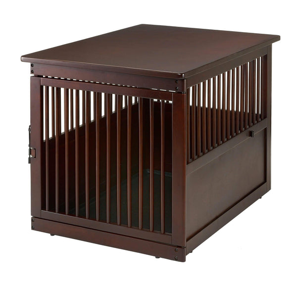 "Richell Wooden End Table Dog Crate Large Dark Brown 41.5"" x 29.9"" x 29.5""-Dog-Richell-PetPhenom"