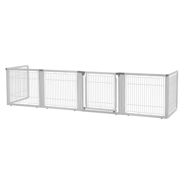 "Richell Convertible Elite Freestanding Pet Gate 6-Panel Origami White 135.8"" x 29.1"" x 31.5""-Dog-Richell-PetPhenom"