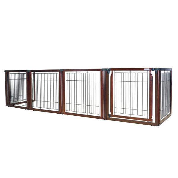"Richell Convertible Elite Freestanding Pet Gate 6-Panel Cherry Brown 135.8"" x 29.1"" x 31.5""-Dog-Richell-PetPhenom"