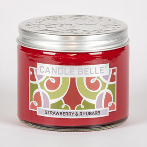 Candle Belle® Strawberry & Rhubarb Fragranced Twin Wick Jar Candle 240g (3 Pack)