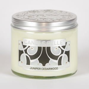 Candle Belle® DECO Juniper Cedarwood Fragranced Twin Wick Jar Candle 240g (3 Pack)