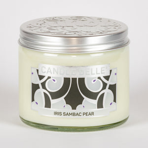 Candle Belle® DECO Iris Sambac Pear Fragranced Twin Wick Jar Candle 240g (3 Pack)