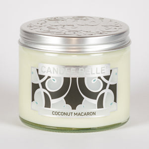 Candle Belle® DECO Coconut Macaron Fragranced Twin Wick Jar Candle 240g (3 Pack)