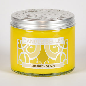 Candle Belle® Caribbean Dream Fragranced Twin Wick Jar Candle 240g (3 Pack)