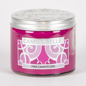 Candle Belle® Pink Candyfloss Fragranced Twin Wick Jar Candle 240g (3 Pack)