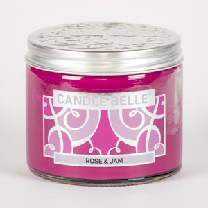 Candle Belle® Rose & Jam Fragranced Twin Wick Jar Candle 240g (3 Pack)