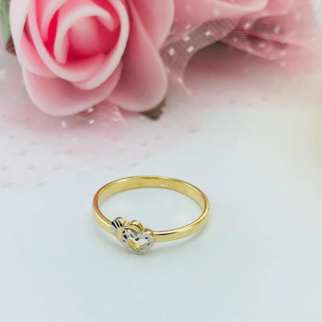 Real Gold 2C 2 Heart Ring 2020-001 (SIZE 6.5) - 18K Gold Jewelry