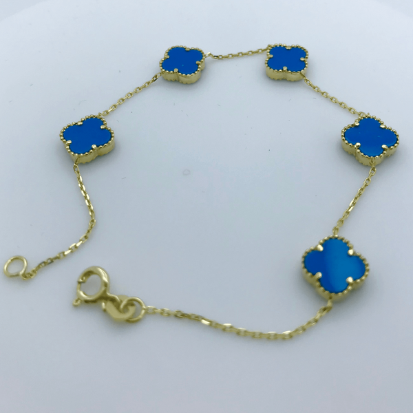 Real Gold 5VC Blue Bracelet - 18k Gold Jewelry
