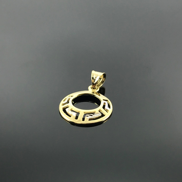 Real Gold 2C Maze Hoop Pendant - 18k Gold Jewelry