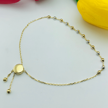 Real Gold 3 Color Ball Bracelet Adjustable - 18K Gold Jewelry