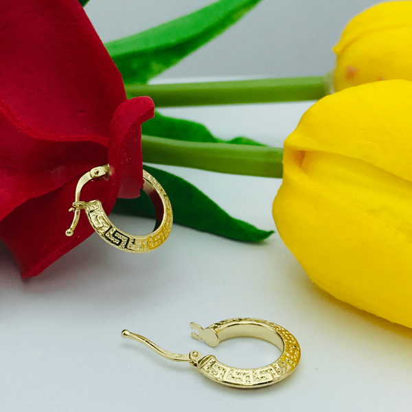 Real Gold 2 Side Maze Hoop Earring Set - 18k Gold Jewelry