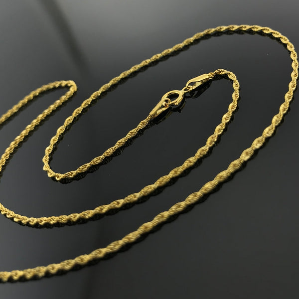 Real Gold Clamp Rope Chain (45 C.M) - 18k Gold Jewelry