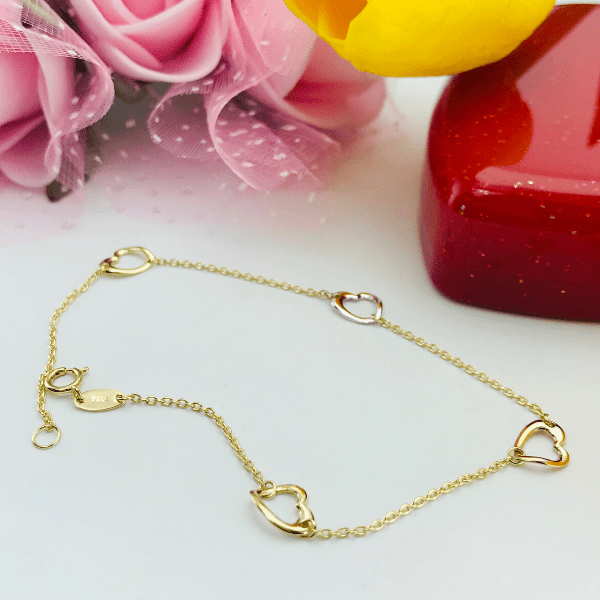 Real Gold 3 Color Heart Bracelet 3398 - 18k Gold Jewelry