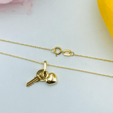 Real Gold Key Heart Necklace 2020 - 18K Gold Jewelry
