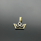 Real Gold 2 Color Crown Pendant - 18k Gold Jewelry