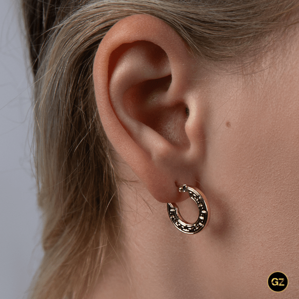 Real Gold Maze Hoop Earring Set 525 - 18k Gold Jewelry