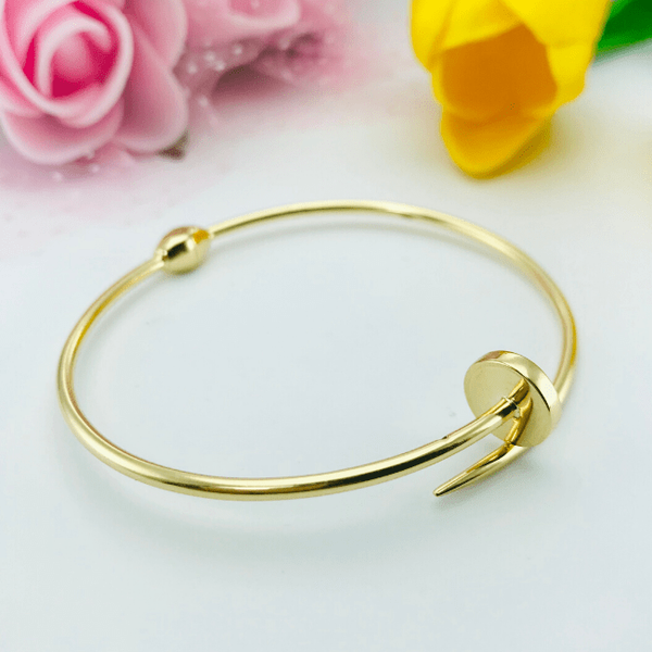 Real Gold CR Plain Nail Bangle 001-O