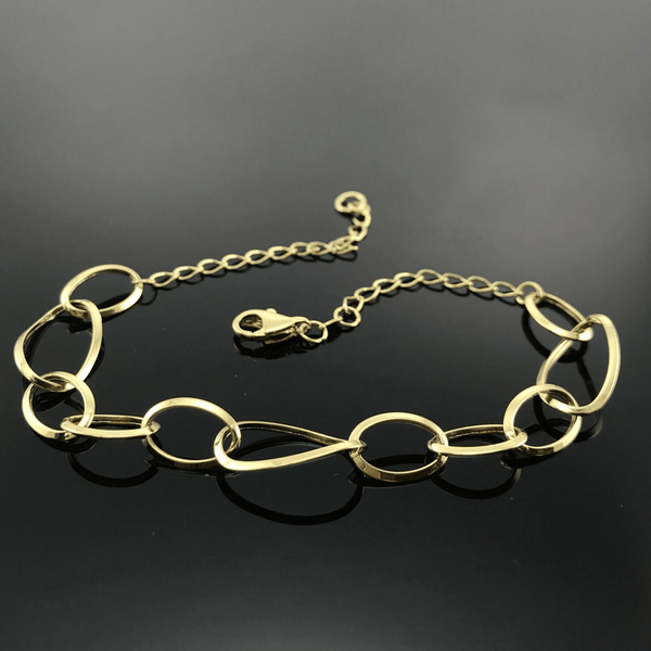 Real Gold Oval Bracelet - 18k Gold Jewelry