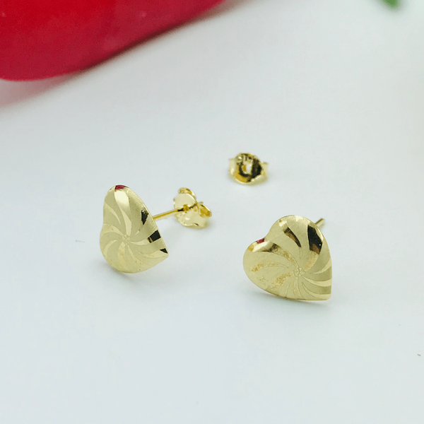 Real Gold Fan G Color Earring Set - 18k Gold Jewelry