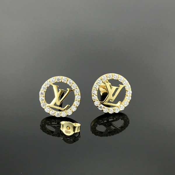 Real Gold Stone LV Round Earring Set - 18k Gold Jewelry