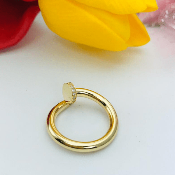 Real Gold CR Nail Ring 2020-D (SIZE 5.5) - 18K Gold Jewelry