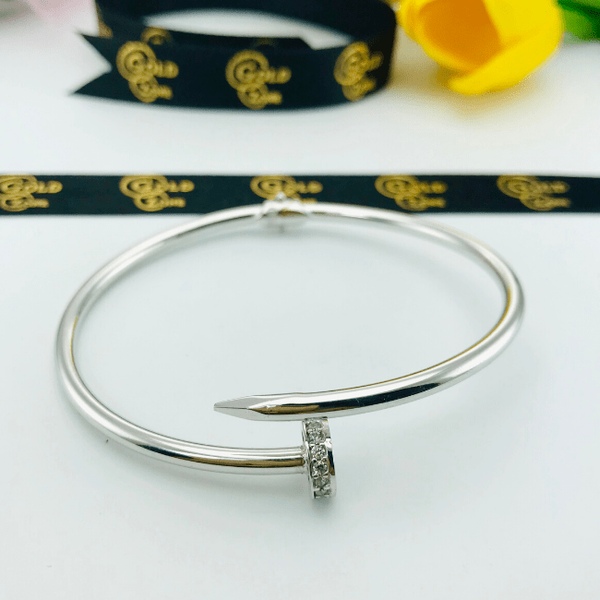 Real Gold CR Stone Nail Bangle White 004-O - 18K Gold Jewelry