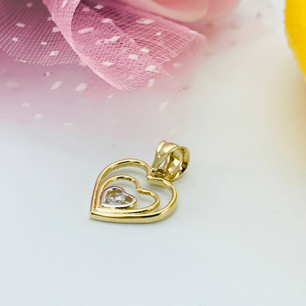 Real Gold 2 Color Heart Pendant 2864 - 18k Gold Jewelry