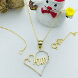 Real Gold Mom Heart Necklace 497 - 18k Gold Jewelry