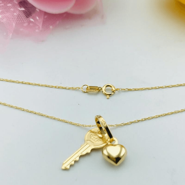 Real Gold Key Heart 1 Necklace 2020